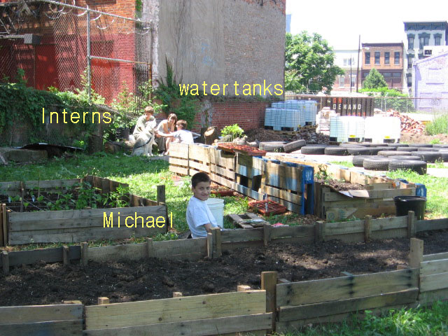 Water Tanks, Interns, Micheal, OTR Homegrown Garden