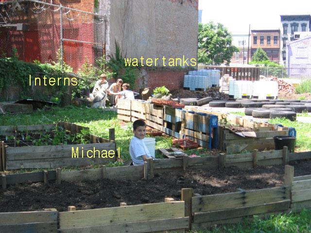 Water Tanks, Interns, Micheal, OTR Homegrown Garden